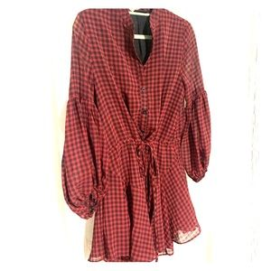 Vici red and black gingham dress
